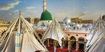 A Forest of Umbrellas Keeps Medina Pilgrims Cool